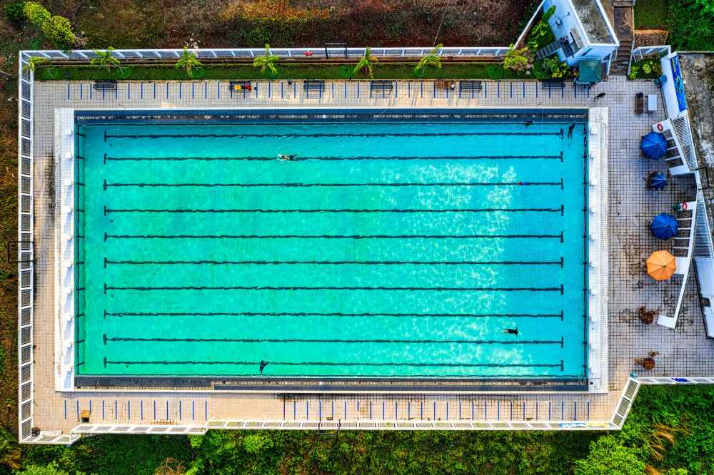 bird s eye view of swimming pool